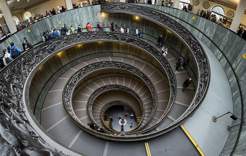 Vast spiral staircase. It is a stepped ramp about 15 meters in diameter, and…