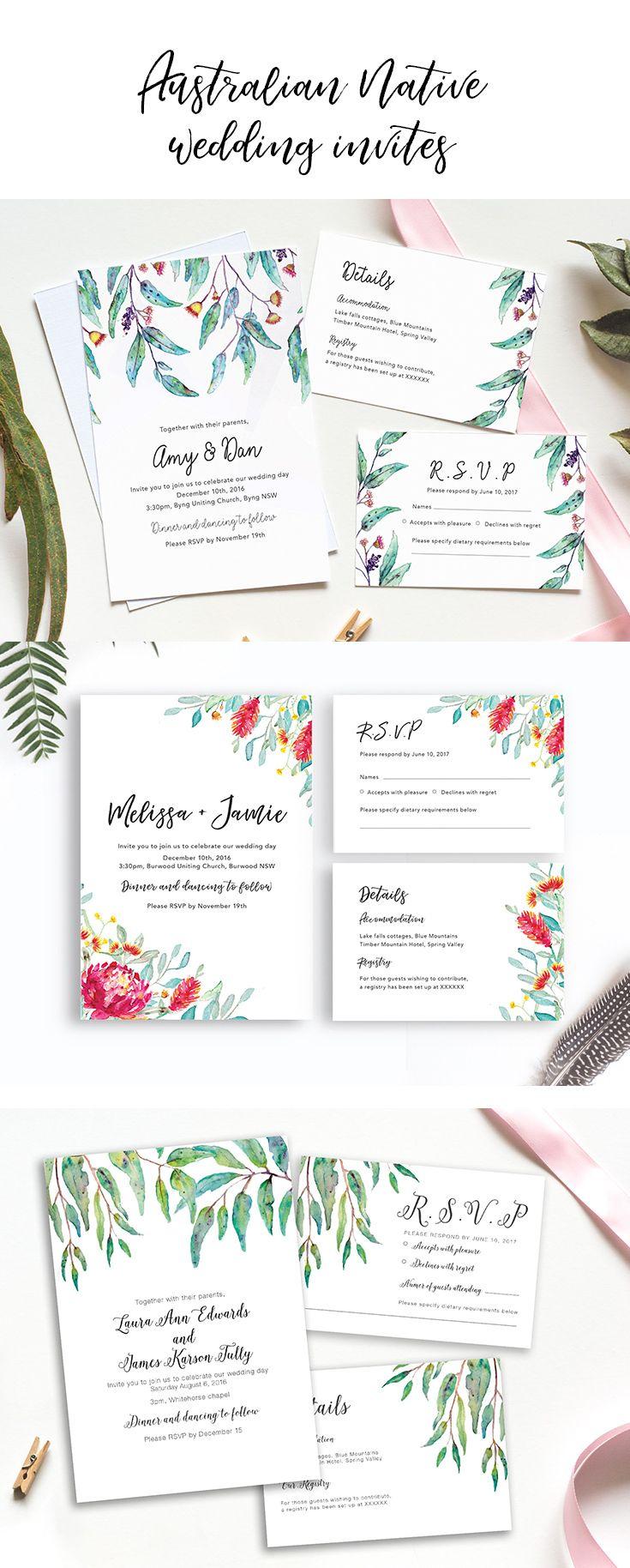 Australian Native Wedding Invitations by The Daydream Creative ...