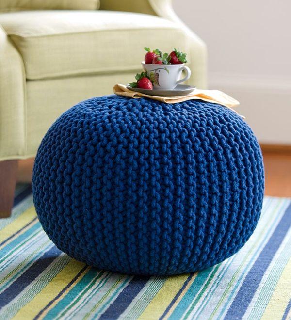 Le pouf tricot - un style cosy - Archzine.fr