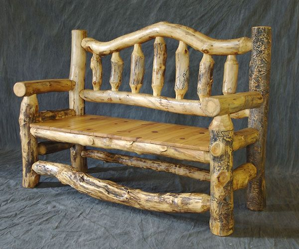 Log Furniture Colorado | Cambium Layer Finish Custom Furniture, Rustic Log  Furniture, Bench Furniture