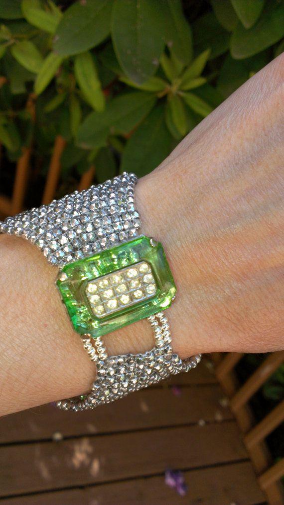 Art Deco Green Glass Diamante Cuff by VelvetBead on Etsy