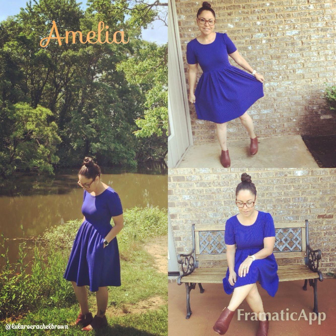 LuLaRoe Amelia Dress in blue  so Classic with Sam Edelman booties.