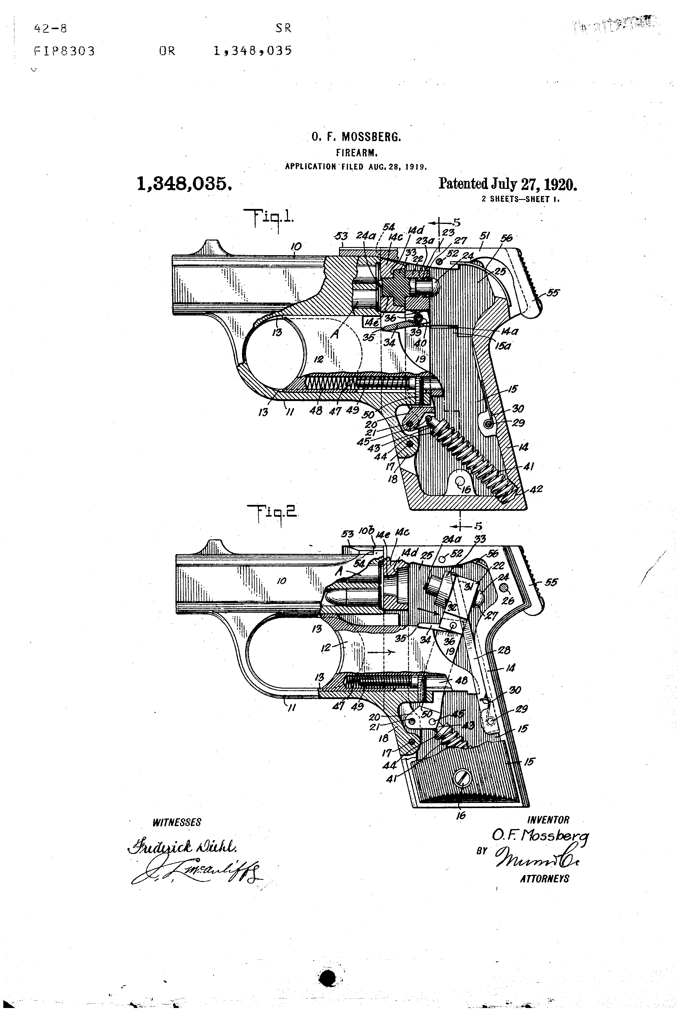 Technische Zeichnung Pistole