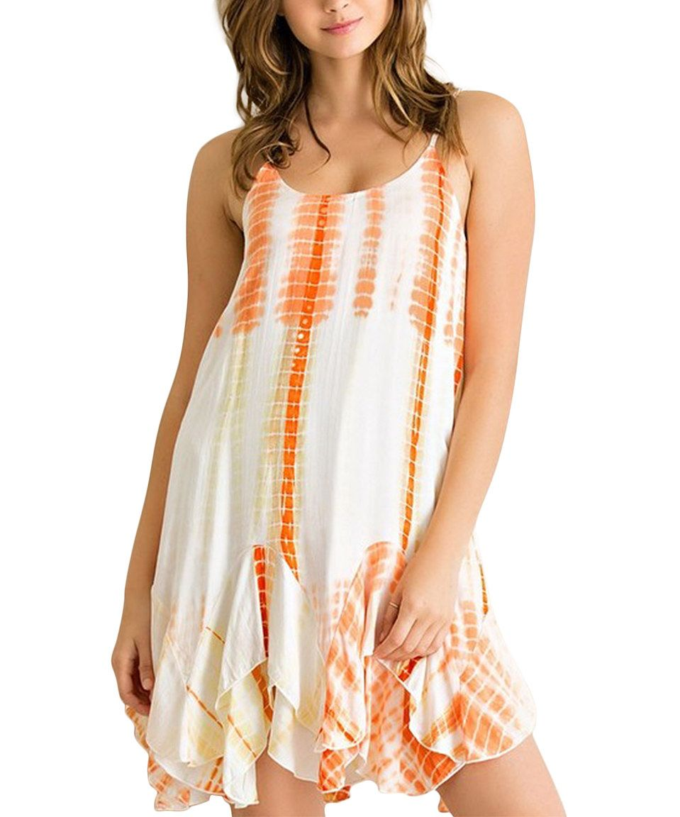 Another great find on #zulily! Orange Tie-Dye Ruffle Shift Dress by UMGEE U.S.A. #zulilyfinds