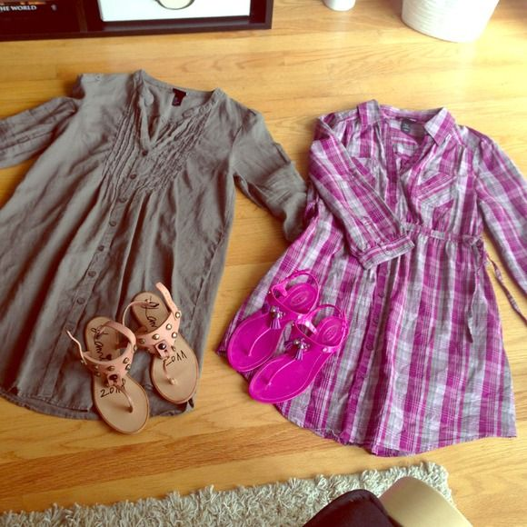 Set of 2 shirtdress Linen brown shirt dress and purple checkered shirt dress with roll up sleeves. Pair it with your favorite sandals for summer or your fave boots for fall. H&M Dresses