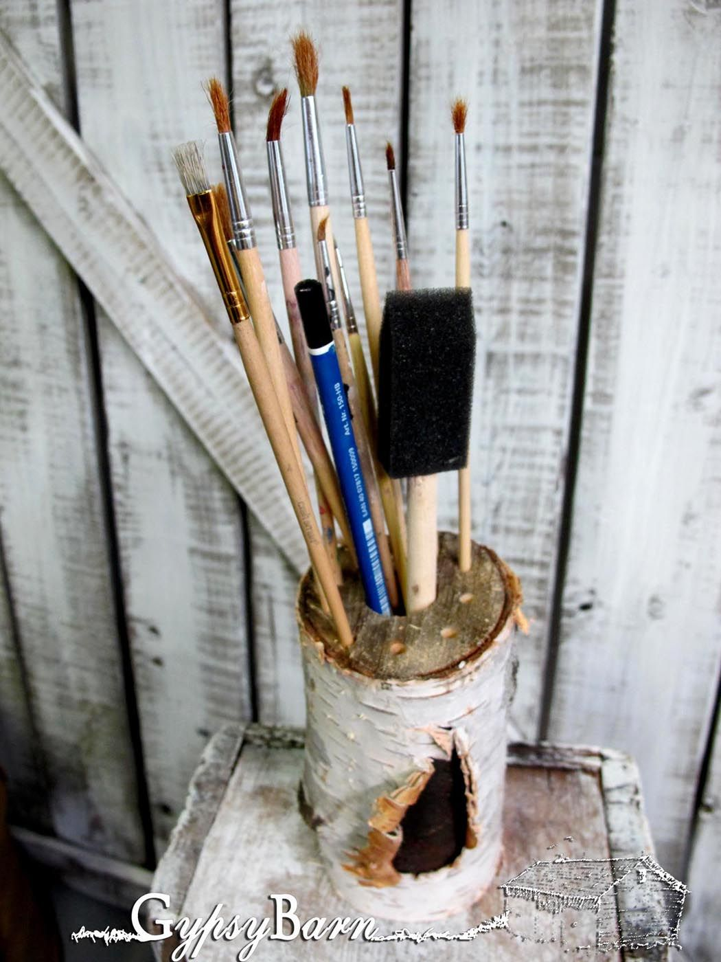 Easy Peasy organizer from leftover brush piles bits n