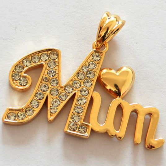 gold plated heart mum pendant necklace