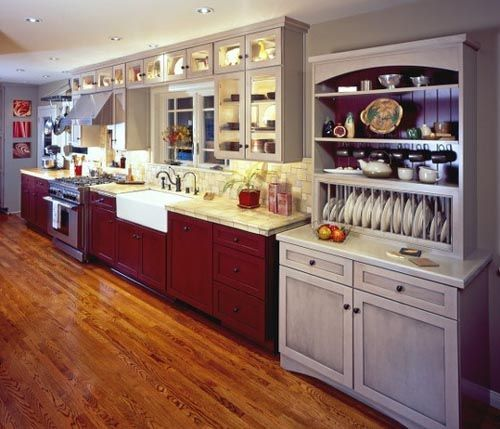 red lower kitchen cabinets white upper white countertop wood floor kitchen cabinet styles on kitchen cabinets upper id=50945