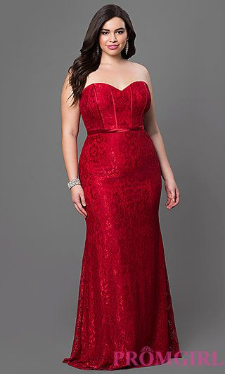 a17ee7610 Lace Strapless Dress with Corset Back at PromGirl.com