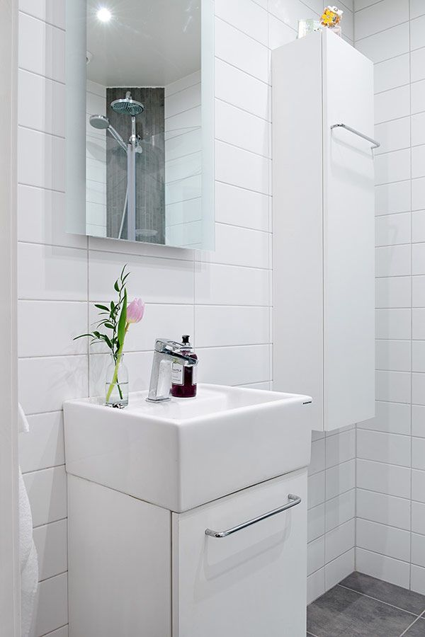 small sink vanity for small bathrooms%0A Sweet White Sink With Mirror In Small Bathroom