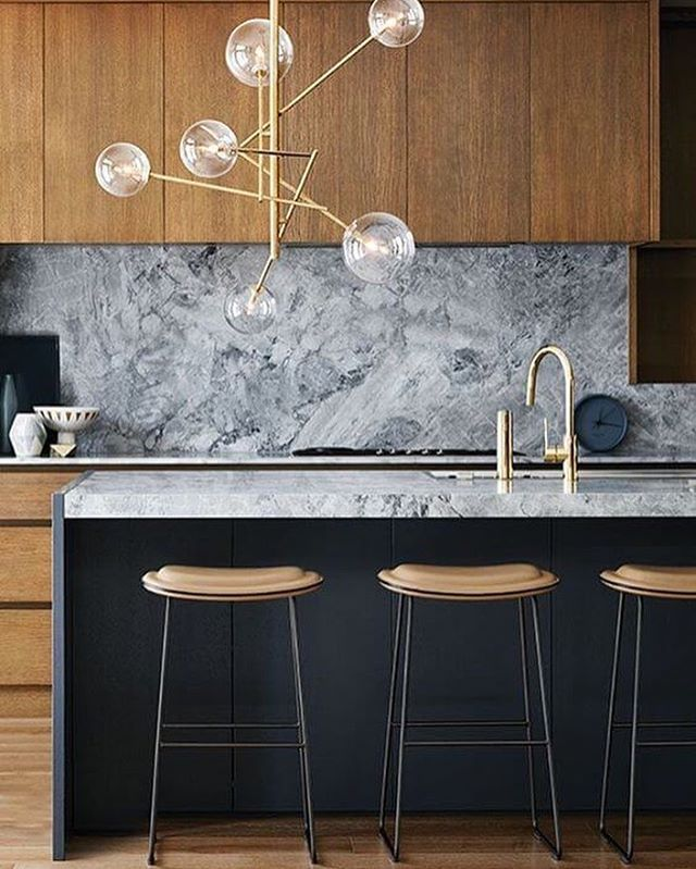 Marble Design For Kitchen: Navy, Wood And Marble Kitchen