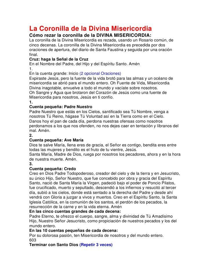 La Coronilla De La Divina Misericordia Divine Mercy Prayer Prayers Divine Mercy