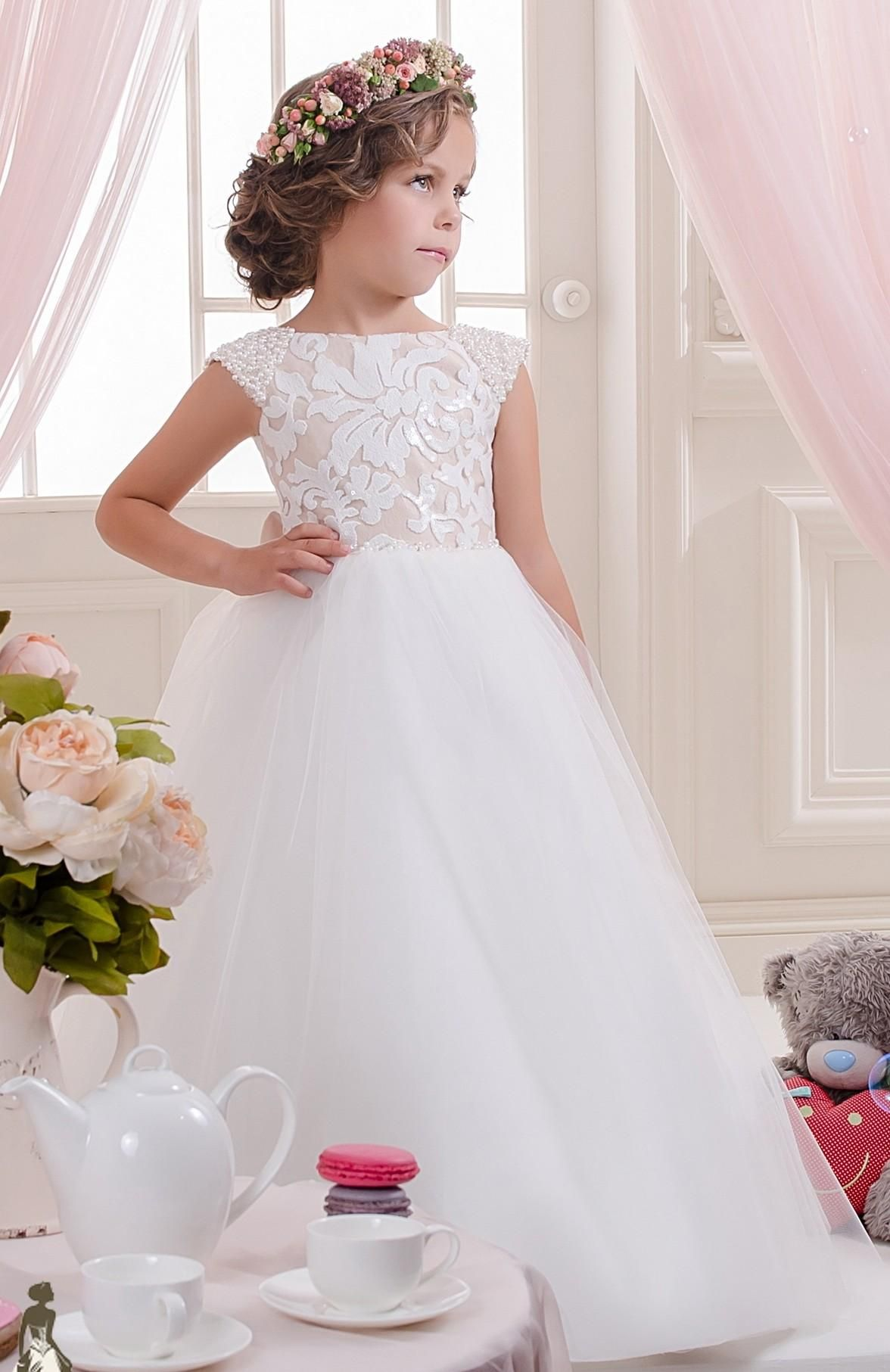 Cheap lace pearls off shoulder tulle flower girl dresses vintage