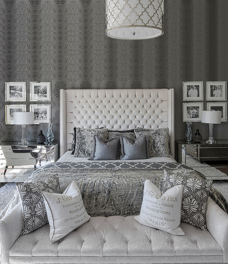 Luxury Glamour Grey And White Luxury Bedroom Decor With White Velvet Tufted Bed With Tall Headbo Grey Bedroom Decor Luxurious Bedrooms White And Silver Bedroom