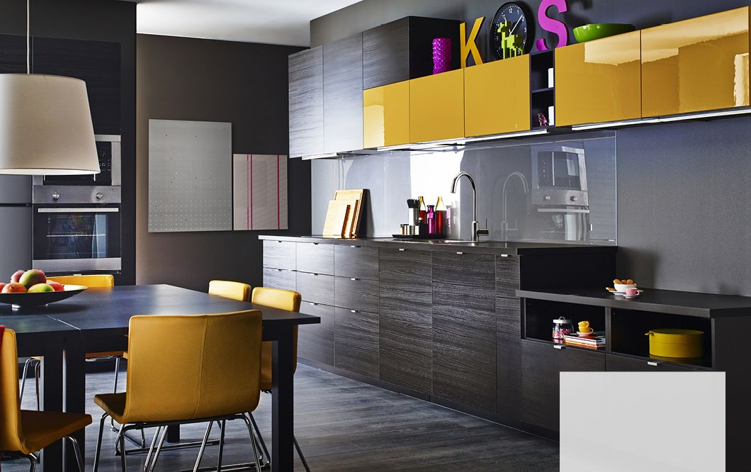 A modern dark kitchen with tingsryd black fronts and for Dark orange kitchen