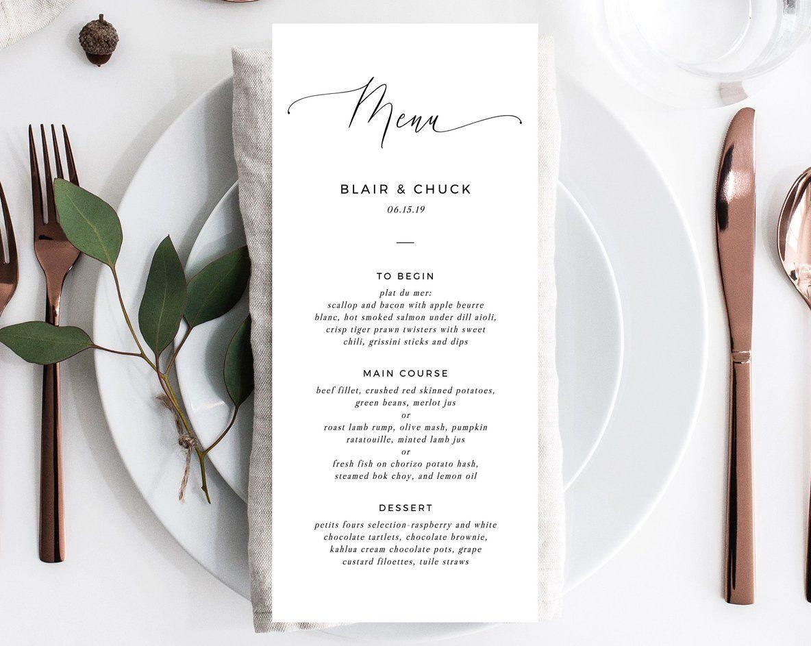 Wedding Menu Template, Printable Menu, Editable Wedding Menu, Modern Wedding Menu, DIY Wedding Menu, Templett, W15 #weddingmenutemplate