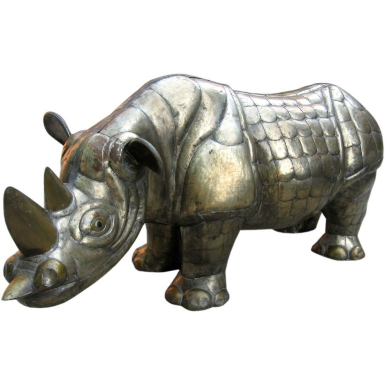 Large Rhinoceros by Sergio Bustamante | From a unique collection of antique and modern sculptures at https://www.1stdibs.com/furniture/more-furniture-collectibles/sculptures/