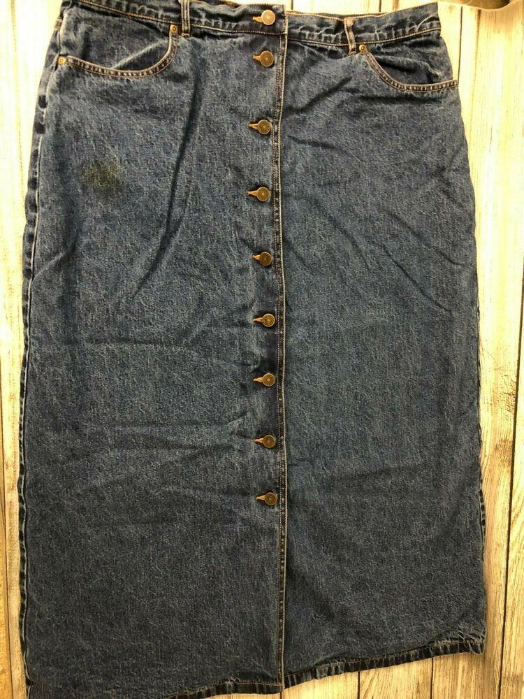 077b39150d Eddie Bauer Women's Long Denim Jean Skirt Plaid Flannel Lined 100% Cotton  sz 18 #EddieBauer #StraightPencil #Casual
