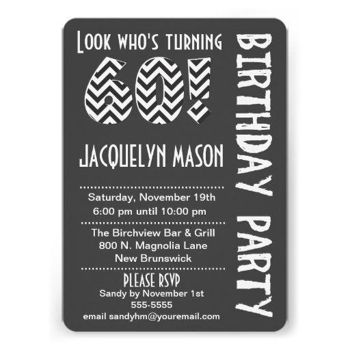 Black/White Look Who's Turning 60 Birthday Invite