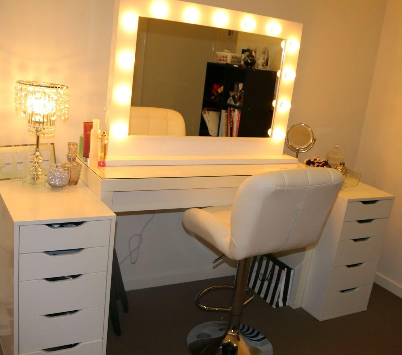 Vanity With Mirror Lights And Drawers Harete