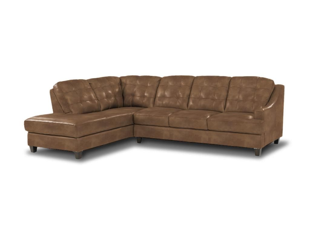 Living room sofa in tan ginger leather bassett - Living room design tool ...