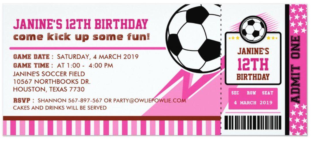 Football soccer ticket pass birthday party invitation