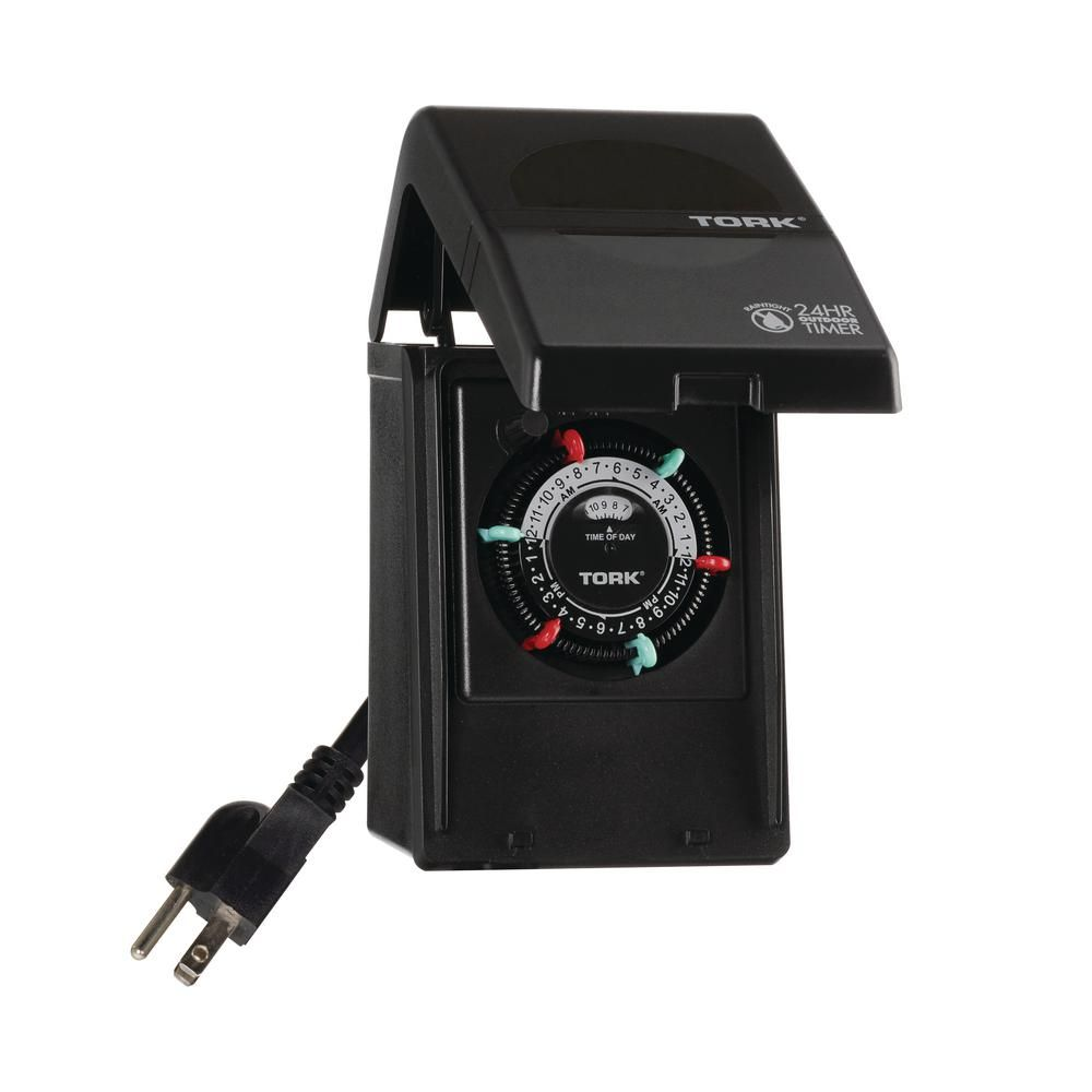 Tork 15 Amp 24 Hour Indoor Outdoor Plug In Heavy Duty Mechanical Timer With 2 Grounded Outlets In Black Indoor Christmas Lights Chandelier Chain Plugs