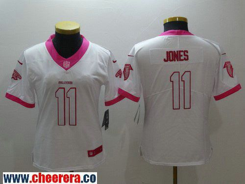 987620024 Women s Atlanta Falcons  11 Julio Jones White Pink 2016 Color Rush Fashion  NFL Nike Limited Jersey