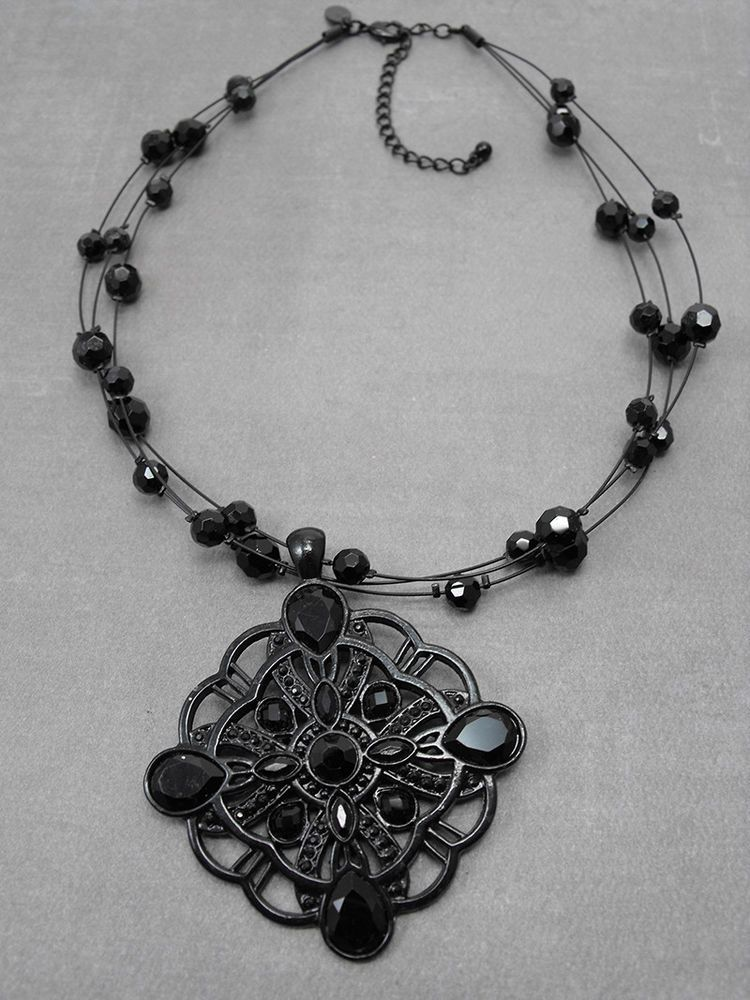 Lia sophia moonstruck faceted black glass bead multi strand pendant lia sophia moonstruck faceted black glass bead multi strand pendant necklace aloadofball