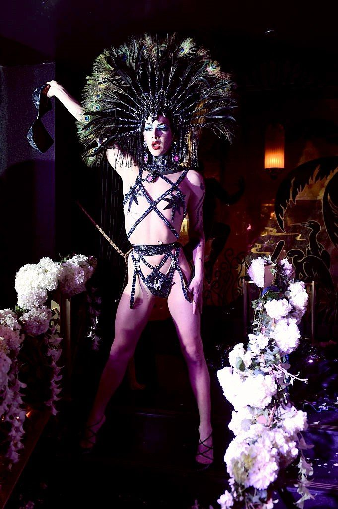 violet chachki performs at the august getty 305 cocktail party with hosts august getty and susanne bartsch at saxony bar at the faena hotel on december 3