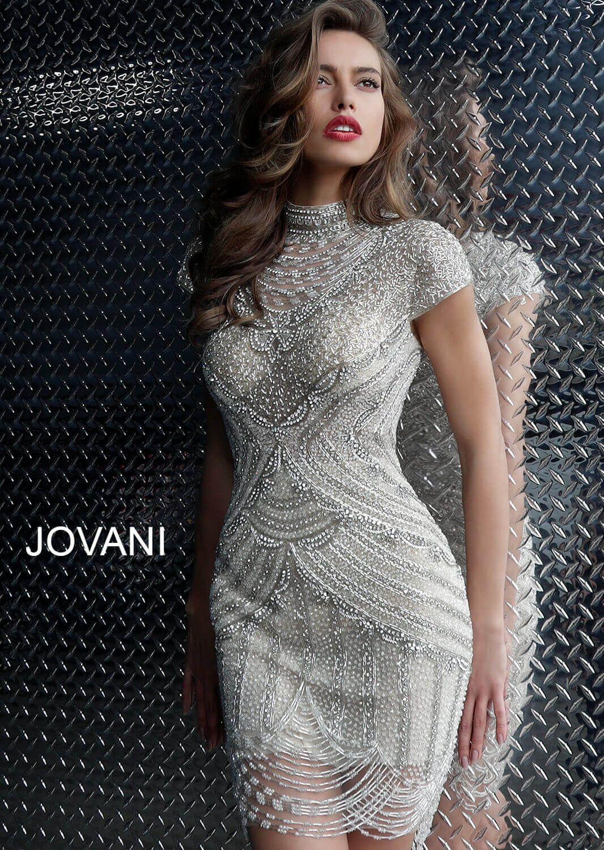 Jovani 60933 Off White Embellished Sheer High Neck Dr Beaded Dress Short Jovani Dresses Short Cocktail Dress [ 1500 x 1066 Pixel ]