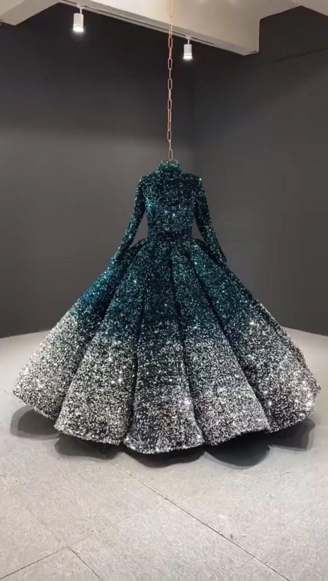 smaragd & silber ombre formalen kleid mit langen ärmeln