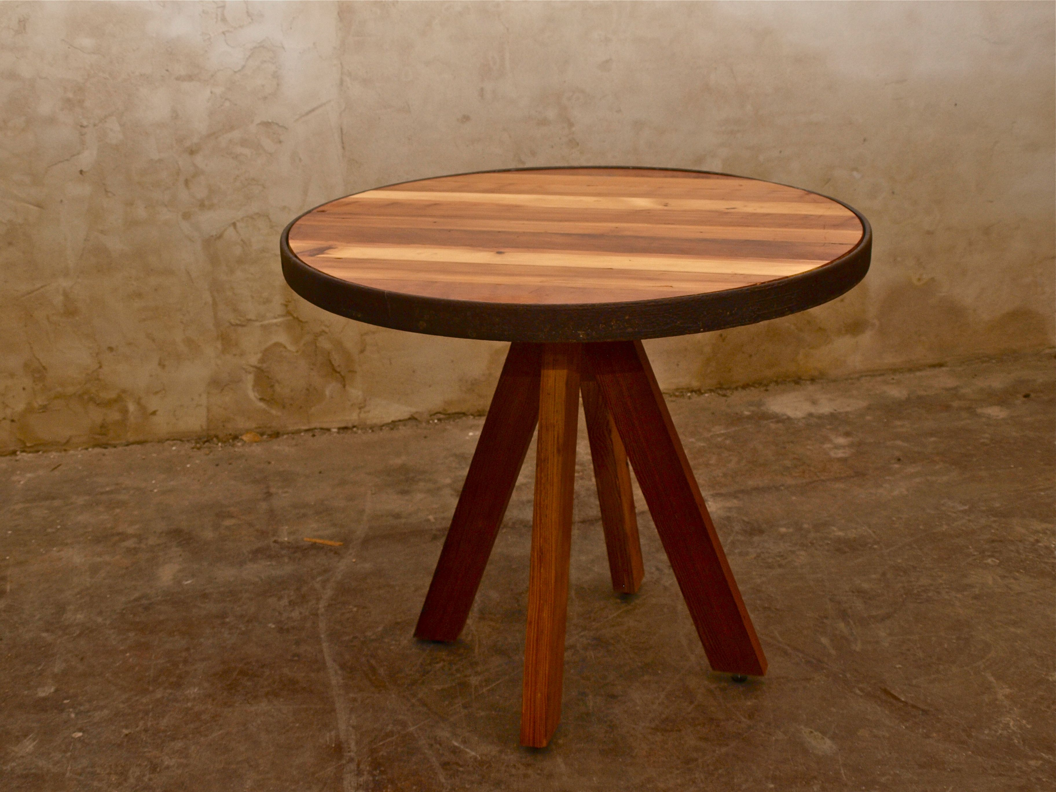 Wagon Wheel Table With Antique Oak And Custom Base