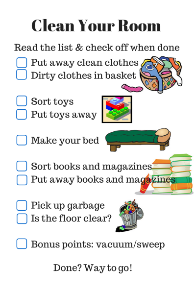 parenting checklist  clean your room