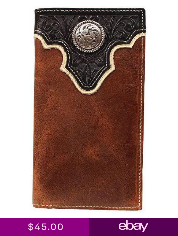 Ariat Western Mens Wallet Tooled Overlay Concho Leather Rodeo Brown A35102129