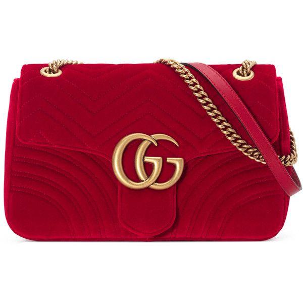 66ea51989bd2d2 Gucci Gg Marmont Velvet Shoulder Bag found on Polyvore featuring bags,  handbags, shoulder bags, red, gucci, women, pocket purse, chain strap purse,  ...