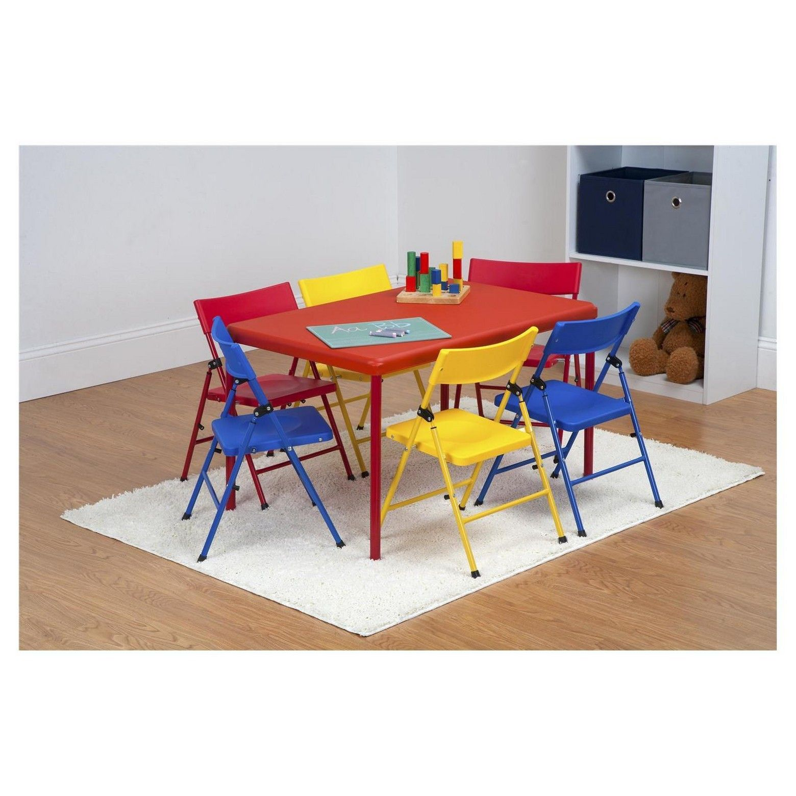 The Safety First 7 Piece Children Amp Rsquo S Juvenile Set With Pinch Free Folding Chairs An Kids Table Chair Set Childrens Folding Table Kids Table And Chairs