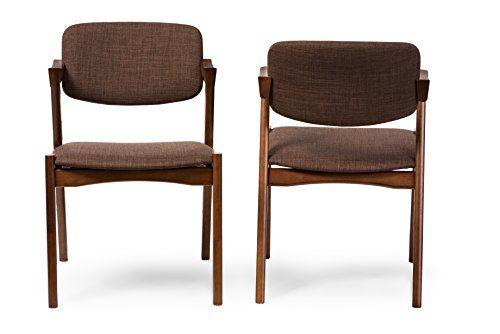 cool Baxton Studio 2-Piece Elegant Mid-Century Modern Scandinavian Style Fabric Upholstered Dining Armchair Set, Dark Walnut