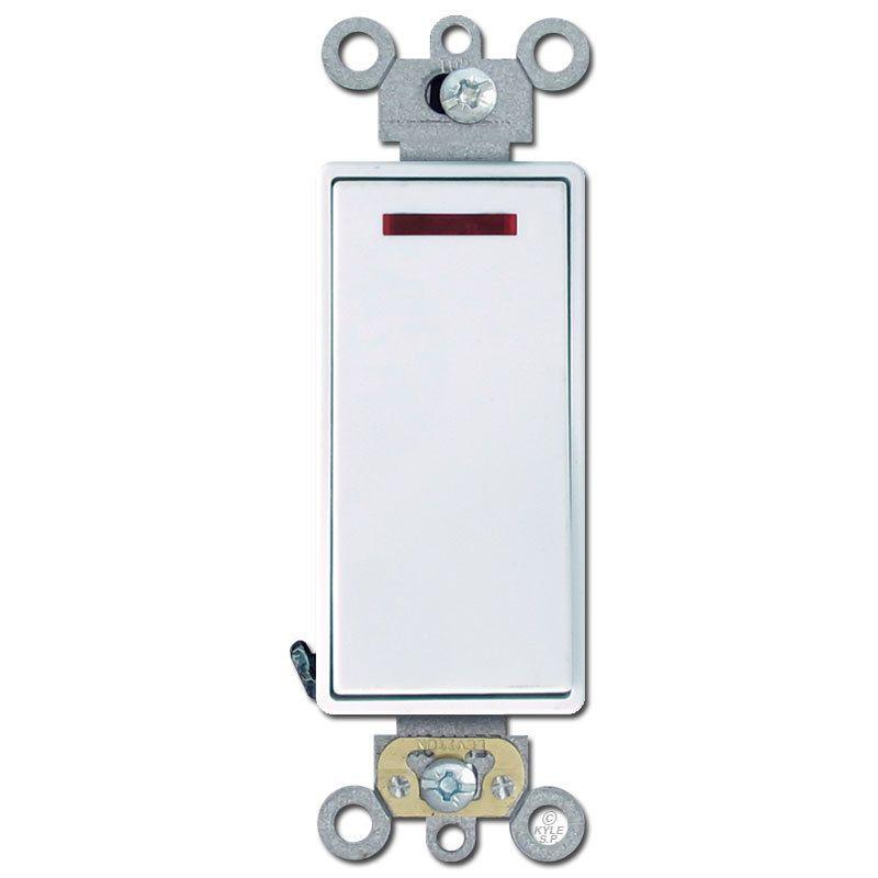 Decora Rocker Pilot Light Switch 20A White Leviton 5628 in