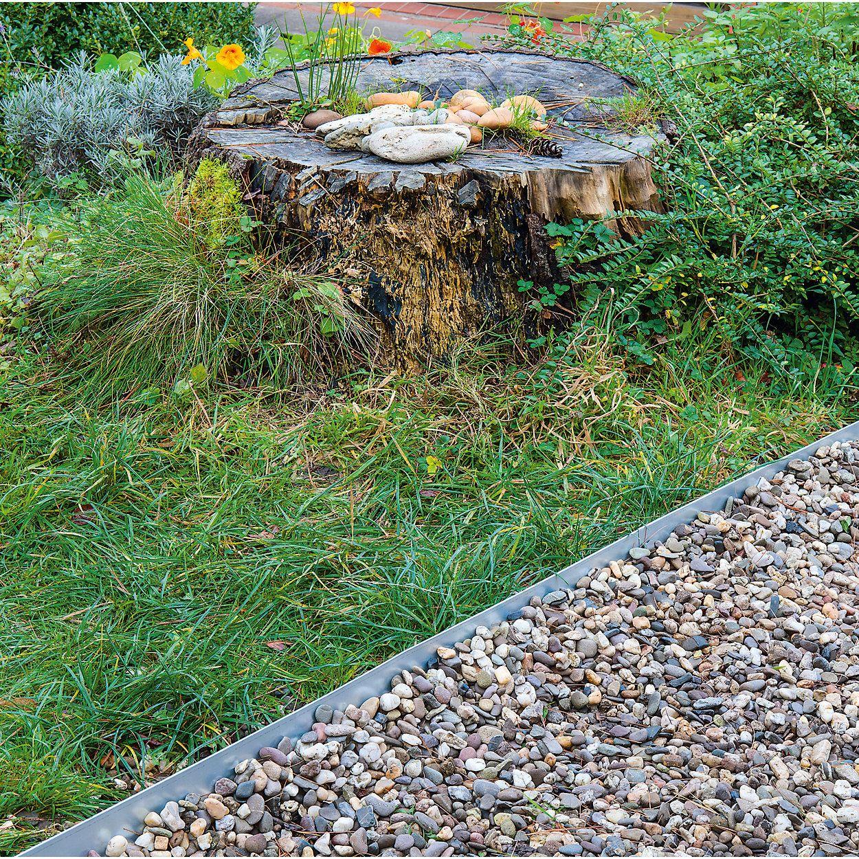 100 cm x 11 cm Beeteinfassung Rasenkante aus Edelstahl flexibel