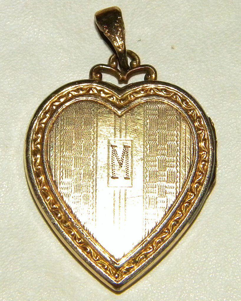 Vintage Gold Filled Heart Locket, Monogrammed M, Hayward
