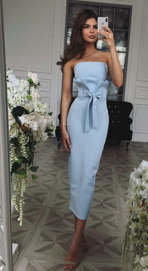 Cute Sheath Strapless Blue Satin Ankle Length Wedding ...