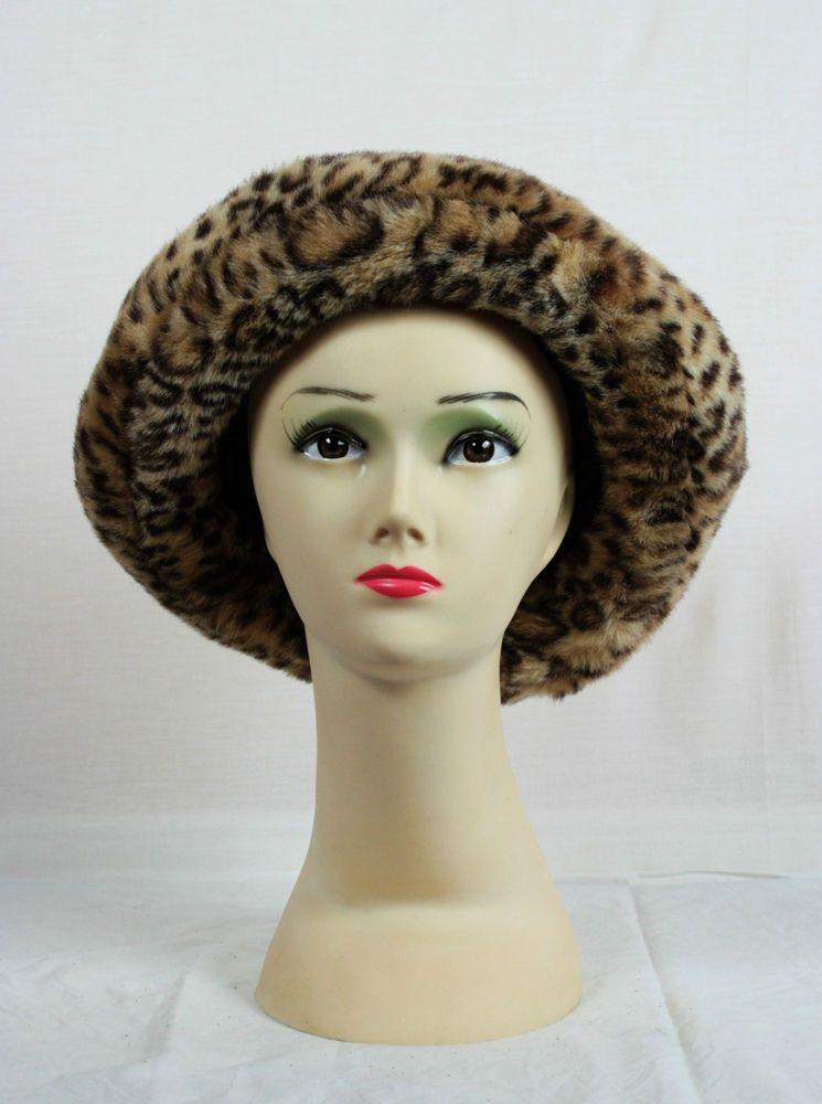 5bc05b5e1bd8d Vintage  90s Faux Fur Leopard Print Hat