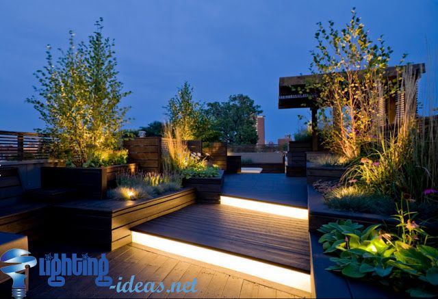 Stunning Outdoor Garden Lights With Fascinating Ideas Roof Garden Design Terrace Garden Design Rooftop Design