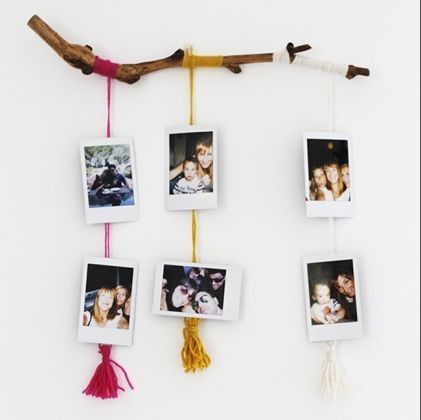 Suspension polaro d en branche de bois do it yourself - Mur photo polaroid ...