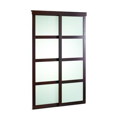 Veranda 48 Inch Espresso Framed Frosted Sliding Door