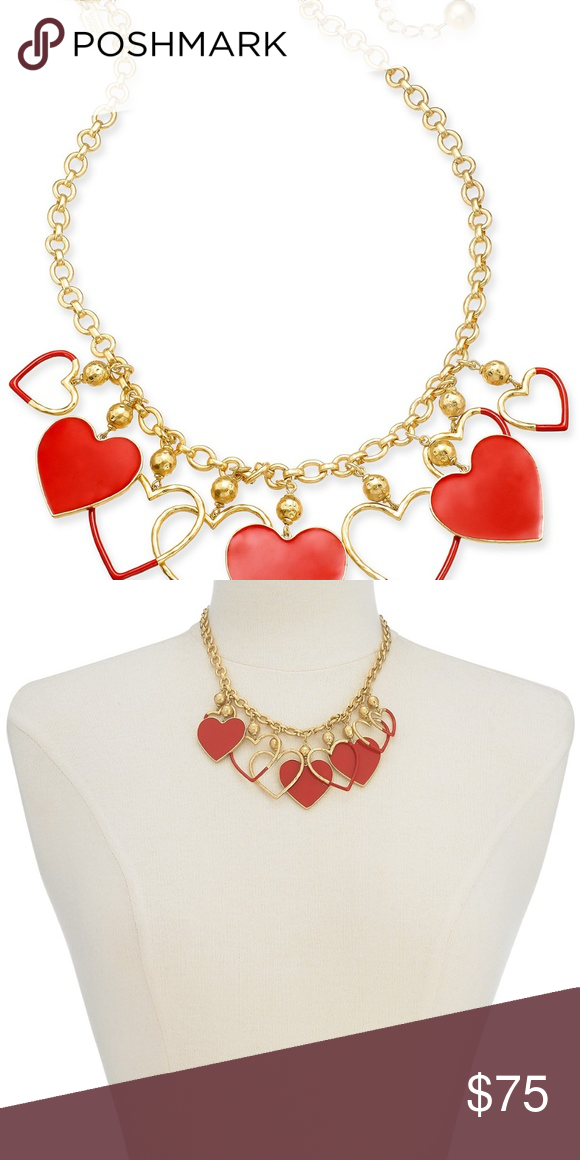 5f1d25200ff455 KATE SPADE MY PRECIOUS HEART STATEMENT NECKLACE A sleek colored coating  jazzes up this unique multi