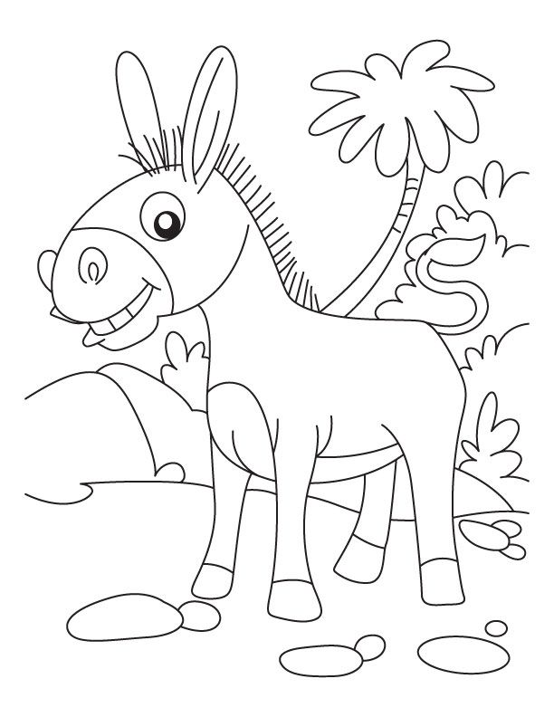 the cute donkey. pin drawn donkey colouring 2. click to see ...