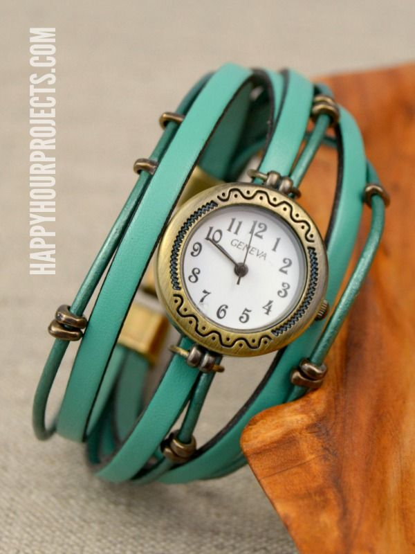 DIY Layered Leather Beaded Watch at www.happyhourprojects.com