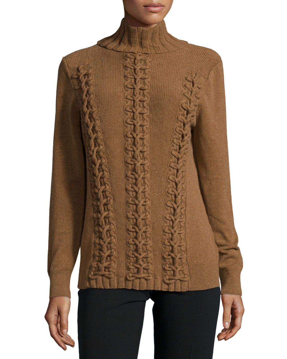 Lafayette 148 New York Long-Sleeve Cable-Knit Cashmere Sweater, Coconut Melange